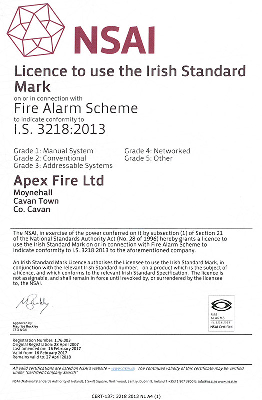 Job vacancies munster northern ireland apex fire for Fire alarm installation certificate template